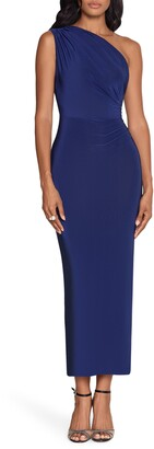 Xscape Evenings One Shoulder Scarf Detail Bodycon Gown
