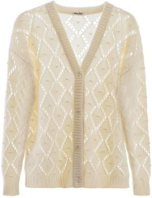 Miu Miu Embellished Knitted Cardigan