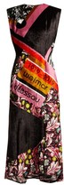 Mary Katrantzou Bayer Dip-hem Velvet Midi Dress - Womens - Pink Multi