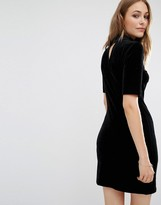 Vila Velvet Bodycon Dress With Cut Out Back