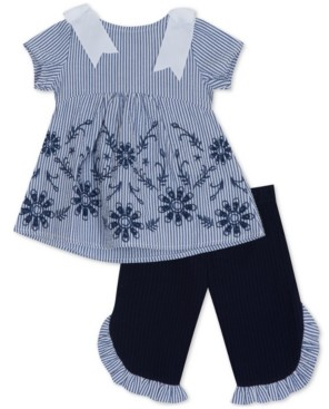 Rare Editions Baby Girls 2-Pc. Embroidered Top & Pants Set