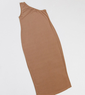 Fashionkilla Maternity going out one shoulder midi dress in camel