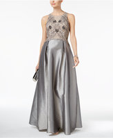 Adrianna Papell Beaded Pleated Gown