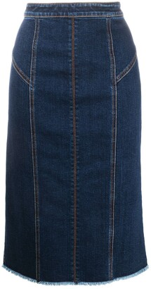 Alexander McQueen Panelled Mid-Length Denim Skirt