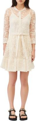 Maje Lace Tie Waist Skater Dress