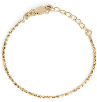 FINE JEWELRY Children's 14K Yellow Gold Over Silver Rope Chain Bracelet