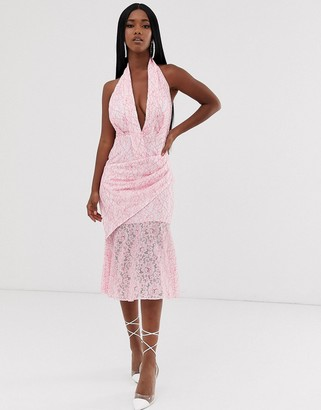 ASOS DESIGN two tone lace halter midi dress