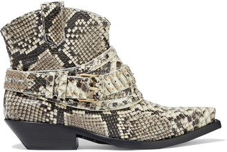 Zimmermann Buckled Snake-effect Leather Ankle Boots