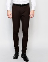 Asos Super Skinny Suit Pants In Brown