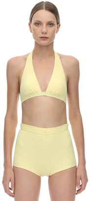 Peony Swimwear Banana Halter Neck Ribbed Bikini Top