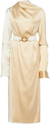 Bottega Veneta Two-Tone Draped Silk-Blend Midi Dress