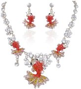 Ever Faith Lovely Carp Pink Austrian Crystal Necklace Earrings Set Gold-Tone N03185-1