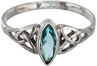 Marquis Eva Sky2 Women's Rings Silver, - Blue Cubic Zirconia & Sterling Silver Celtic-Style Ring