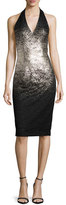 David Meister Ombre Foil Halter Cocktail Dress, Silver/Black