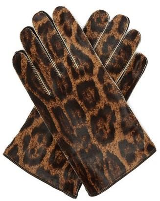 Raf Simons Jaguar-print Calf-hair Gloves - Leopard