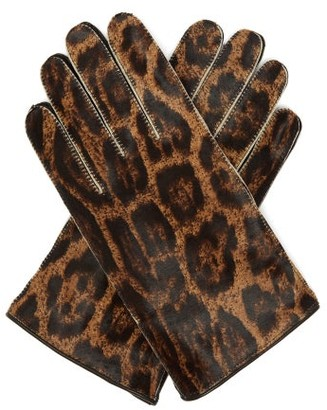 Raf Simons Jaguar-print Calf-hair Gloves - Womens - Leopard