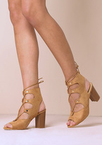 Missy Empire Faith Tan Suede Lace Up Heeled Boots