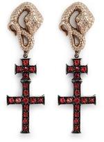Delfina Delettrez 'Snake' sapphire 18k yellow gold cross drop earrings