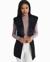 White House Black Market Removable Faux Fur Collar Cover Up Sweater