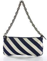 J.Crew J Crew Navy Blue White Silk Striped Chain Link Strap Shoulder Handbag