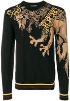 Dolce & Gabbana lion embroidered sweater