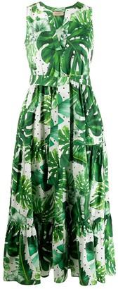 Twin-Set Twin Set leaf print cotton dress