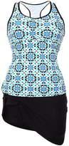 Dilameng Women Tankini with Skirt Built-in Shorts Padded Swim Top Bikini Set Abstract Print Racerback Swimsuits (S, )