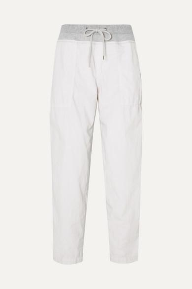 James Perse Jersey-trimmed Cotton-blend Poplin Track Pants - Silver