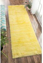 nuLoom Cozy Soft and Plush Faux Sheepskin Shag Kids Nursery Yellow Runner Rug (2'6 x 8')