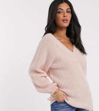 Asos DESIGN Maternity v neck fluffy oversized sweater