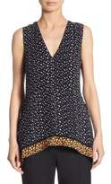 Proenza Schouler Printed V-Neck Silk Top
