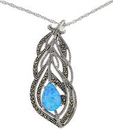 Lord & Taylor Sterling Silver and Faux Opal Feather Necklace