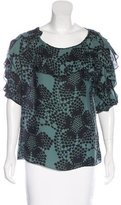 Tibi Silk Abstract Print Top