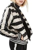 Topshop Women's Stripe Sequin Bomber Jacket