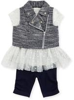 Miniclasix Tweed Vest, Polka-Dot Jersey Dress & Ruched Leggings, Gray, Size 12-24 Months