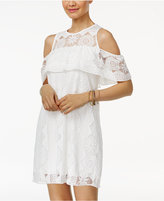 Trixxi Juniors' Lace Cold-Shoulder Shift Dress