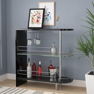 Mcconkey Bar with Wine Storage Wrought Studio Color: Black