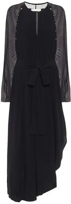 Chloé Asymmetric silk georgette midi dress