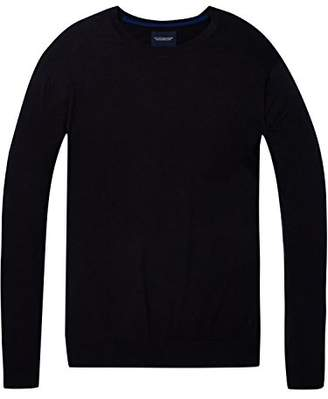 Scotch & Soda Men's AMS Blauw Regular Fit Crew Neck Knit in Cotton Cashmere Long Sleeve Top,X-Large