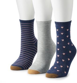 Gold Toe Women's GOLDTOE 3-pk Designer Amore Crew Socks