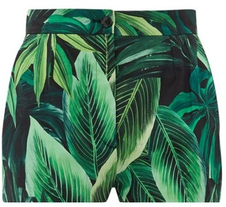 Dolce & Gabbana Leaf-print Cotton-poplin Shorts - Green Multi
