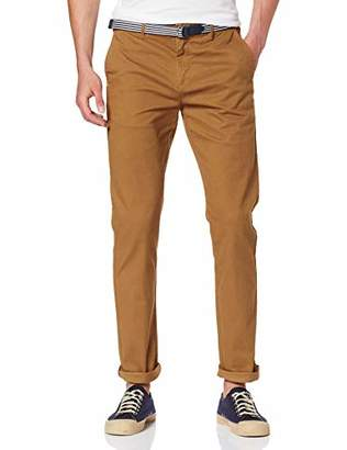 Scotch & Soda Men's AMS Blauw Stuart Chino with Belt in Stretch Peached Quality Trouser,/L30 (Size: 29/30)
