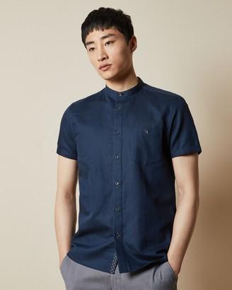 Ted Baker GLATE Short sleeved cotton grandad collar shirt