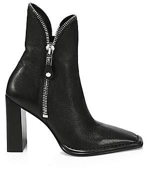 Alexander Wang Women's Lane Zipper-Trimmed Leather Ankle Boots