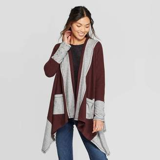 Knox Rose™ Women's Long Sleeve Colorblock Cardigan With Pockets and Lace-Up Sleeve Detail - Knox RoseTM Burgundy