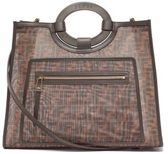 Fendi Runaway Ff-print Leather-trimmed Mesh Tote Bag - Womens - Brown Multi