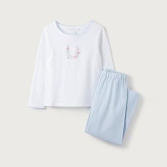 The White Company Horseshoe-Embroidered Pyjamas (1-12yrs), White Blue, 2-3yrs
