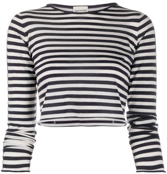 Semi-Couture Striped Virgin Wool Cropped Top