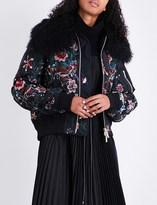 Sacai Floral-embroidered satin bomber jacket