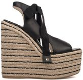 Paloma Barceló Black Lauris Leather Wedge Sandal